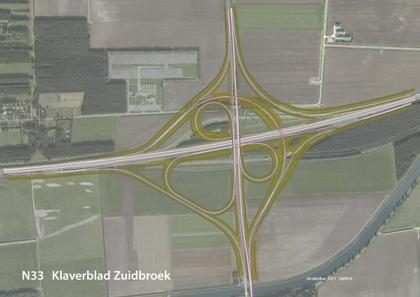 Klaverblad voor A7/N33 bij Zuidbroek