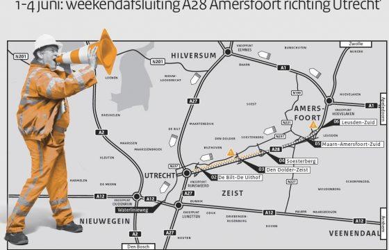 A28 heel weekend dicht