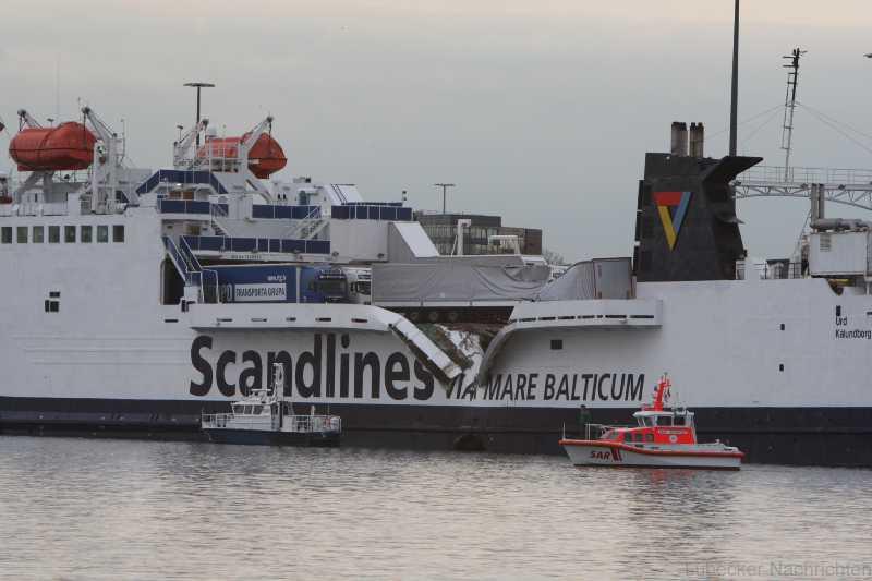 Aanvaring ferryschepen in Travemunde