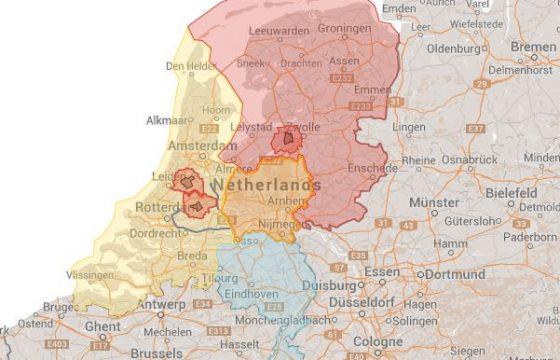 Kaart vervoersregio's vogelgriep