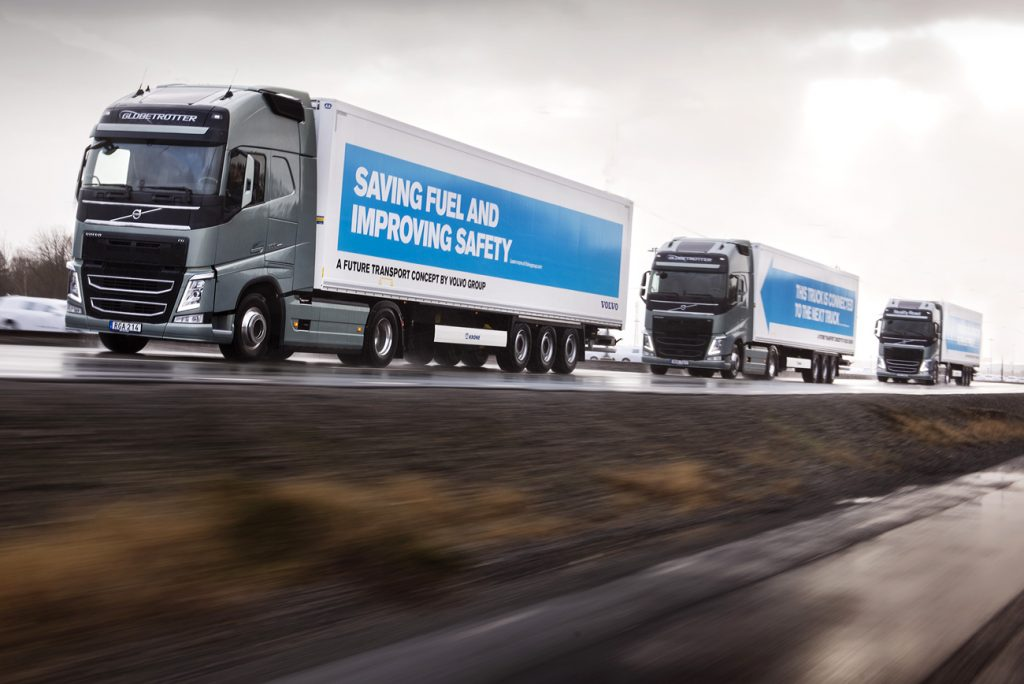 Truckplatoons onderweg naar Rotterdam